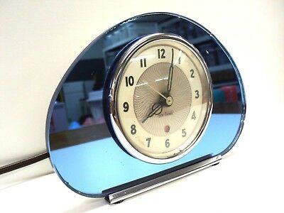 "Vintage Art Deco Seth Thomas Blue Mirrored Desk Clock  ""non-Working Condition"""