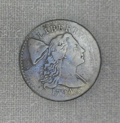 1794 Liberty Cap Flowing Hair Large Cent Head of '94 Better Grade Fine+