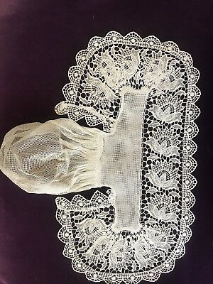 Fine Antique Hand Done Lace 1860's Head Covering Snood Bridal Ornate Ceremonial