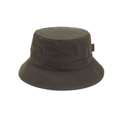 Barbour Mens Wax Sports Bucket Hat Olive Green Waterproof Size S M L XL