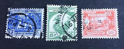 3 nice old used stamps Union of Burma