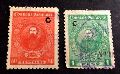 """Paraguay old stamps overprint """"C"""" / 05"""