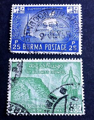 2 nice old used stamps Union of Burma