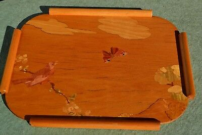 Vintage Marquetry Inlaid Wooden Tray