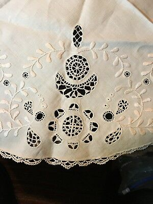 "Ant Tablecloth~Belgian Bobbin Lace Insets & Edge~White Embroidery~Openwork~25""!"