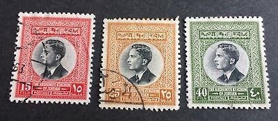 3 nice old used stamps Kingdom of Jordan 1959 King Hussein II.