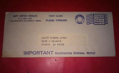 1976 California Meter Mail First Class Cover Car Registration 69 Dodge charger ?