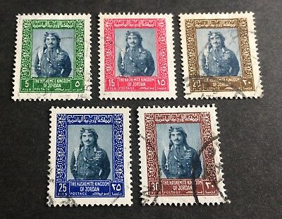 5 nice old used stamps Kingdom of Jordan King Hussein 1975