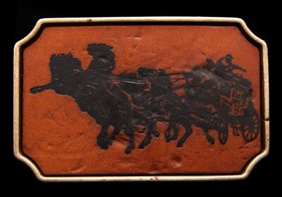 HL08127 VINTAGE 1970s **STAGECOACH** SOLID BRASS & LEATHER BUCKLE