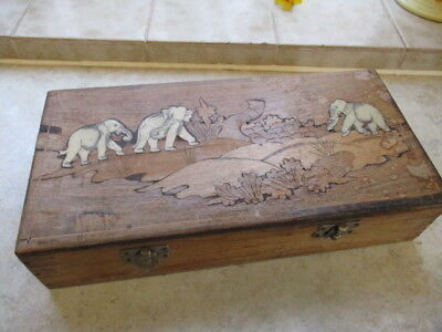 Large Marquetry Wooden Box with Inlaid Elephant Design plus Two Carved Elephants