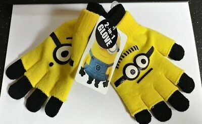 Despicable Me Yellow Minions Kids Cute Soft Warm Winter 2 in 1 Gloves HOT SALE
