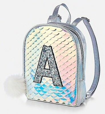 "NWT Justice ""Initial"" Mermaid Scale MINI Backpack!  You Choose Letter!!"