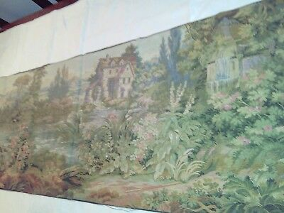 Long vintage tapestry Mill River scene 19 X 57 inches wall hanging