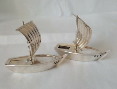 Sterling Silver Figural iion Lines Japan Shipping Sailing Salt & Pepper Shakers