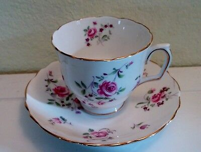 Antique 1906-1930 Crown Staffordshire Floral China Teacup and Saucer, England