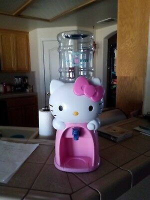 Hello Kitty Water Cooler Dispenser Holds 8 Glasses of Water Pink & White EUC!