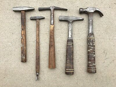 Lot of 5 Vintage Hammers-Stanley, Malco 12 oz., Estwing 16 oz., Osborn Co.