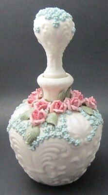Vintage Perfume Decanter with Raised Roses & Stopper
