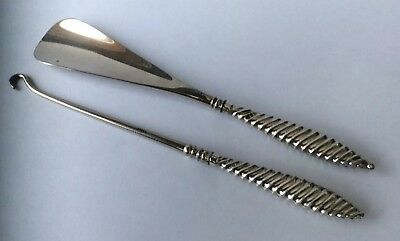 Top Quality Good Condition Antique 1889 Silver Handled Shoe Horn Button Hook Set