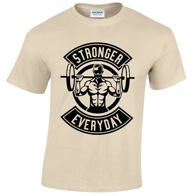 Stronger Everyday Mens T Shirt S-5XL weight lifting gym training bodybuilding