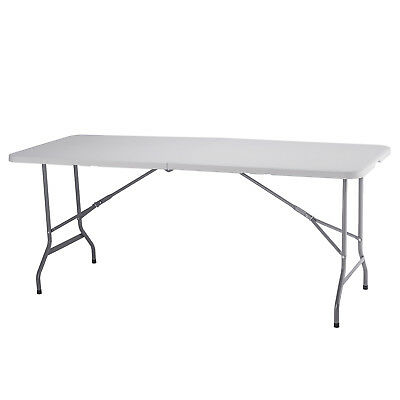 Portable 6 FT Folding Plastic Table Picnic Party Camp Table Indoor Outdoor White