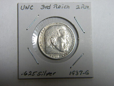 WW2 German 2 Mark Silver Coin 3RD Reich With Large Swastika Uncirculated 1937 G