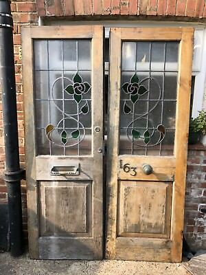 Glass Double Front Doors - Period Old Antique Reclaimed Pine Timber