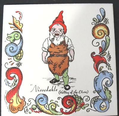 Norwegian 'little Norway' Valley Of The Elves Porcelain 'nisse' Tile Rosemaling