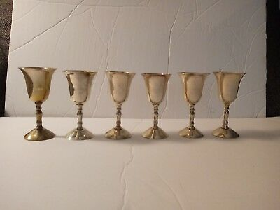 Set Of 6 Silver Plated Cordial Glasses Made In India