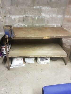 vintage work bench with no 23 vice