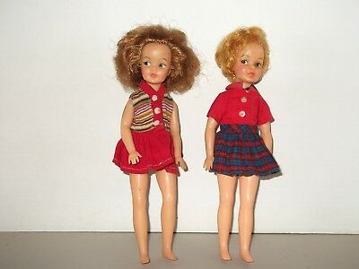 1960s Vintage Ideal Pepper Tammy's Sister Doll Lot of 2 Pos'n and Straight Leg
