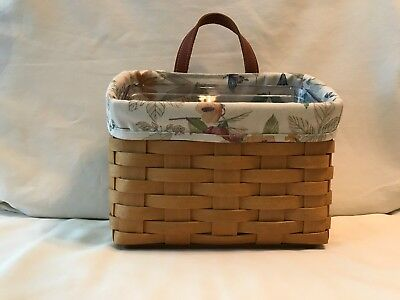 Longaberger 2005 Small Wall Pocket With Botanical Fields Liner and Protector