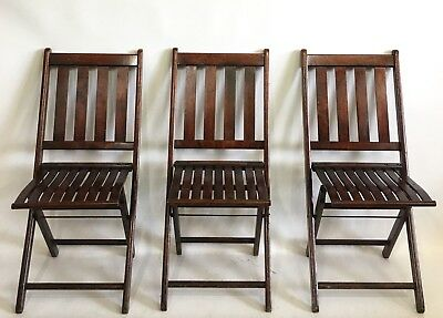 Antique Wooden Folding Chairs Vintage Wood Curved Slat Seats Set of 3