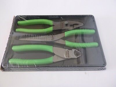New Snap-On Tools 3 piece Pliers Set, Green Handles, PL307ACFG