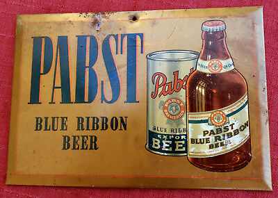 "Vintage 1940's Tin Pabst Blue Ribbon Beer Advertising Standing Sign 9"" By 13"""