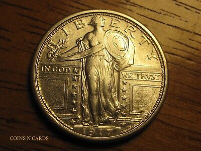 1917-S 25C Type 1 Standing Liberty Quarter Lustrous About Uncirculated AU+ Rare!