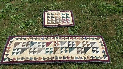 Vintage Primtive Quilted  Rustic Farmhouse Style Table Runner with Mat
