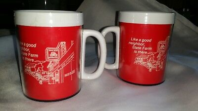 2 Vintage State Farm Insurance Plastic Insulated Coffee Cups-Mugs