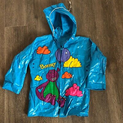 Barney & Friends Raincoat Blue Vinyl Size 4 Child