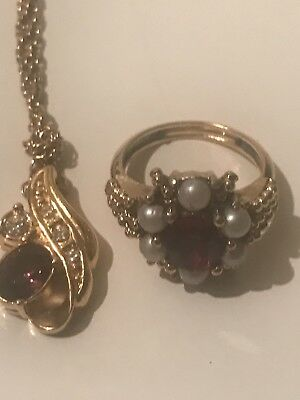 Vintage Signed Avon Costume Jewelry Lot Of 2. Necklace and matching Ring