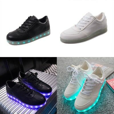 Light UP LED Shoes Colorful Glow Shoe Casual PU-Leather Luminous Lace Up Gifts.