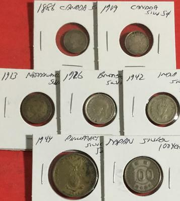 1886-1944 World SILVER Coin Collection of 7 Different Carded Coins!