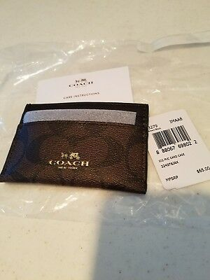 coach signature black and brown card case New with tags