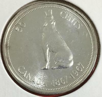 """1967 Choice Prooflike SILVER Canadian """"FIFTY CENTS"""" """"WOLF"""" Old Canada Coin"""