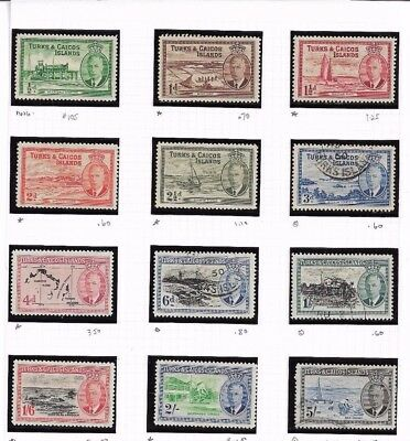 Turks and Caicos Sc# 105-116 George vi mint and used LH  f/VF cat $35.65