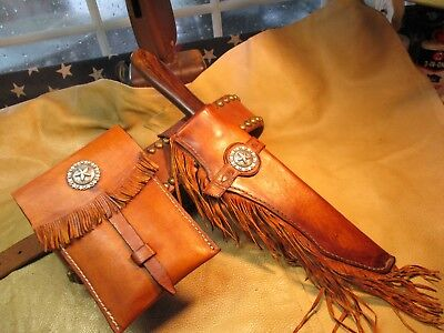 Large Bowie Knife, Mountain Man Knife & Possibles Bag, Cowboy LF&C Knife