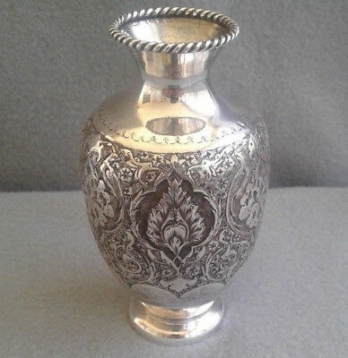 Persian Bagher Parvaresh Isfahan 84 Silver Repousse Chased Engraved Vase 127.4 g