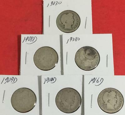 1903O-1916D US Barber SILVER Quarters Set of 6 Different Mint Marked Carded Coin