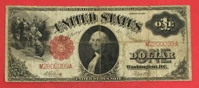 """1917 $1 RED US Legal Tender """"SAWHORSE"""" LARGE SIZE Currency Very Good!"""