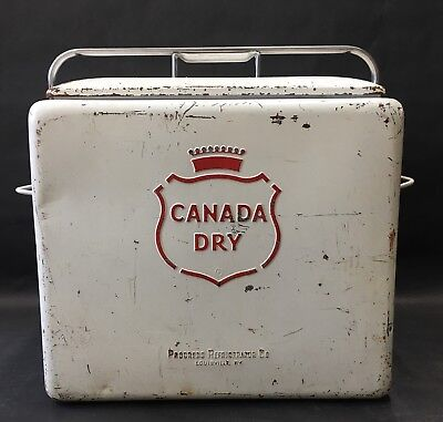 Vintage White Canada Dry Cooler Chest Progress Refrigerator Co Louisville KY